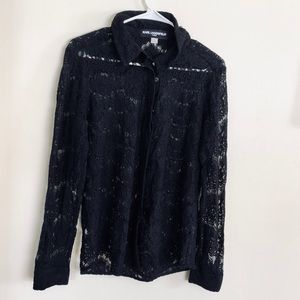 Karl Lagerfeld Sheer Black Lace Button Down Medium